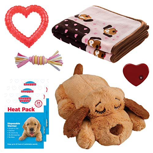 SmartPetLove Snuggle Puppy Heartbeat Stuffed Toy – Pet Anxiety Relief and Calming Aid – Biscuit – New Puppy Starter Kit (Pink)