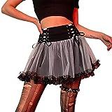 Saoidnier Falda plisada de encaje para mujer, estilo gótico, minifaldas, cintura alta, con cordones, línea A, Y2K Streetwear, Negro, 40
