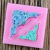 Bghty654 DIY artesanía de azúcar Pastel Vintage Relieve Borde Silicona Molde Fondant Molde decoración Herramientas Goma Pasta Molde (Color : A)