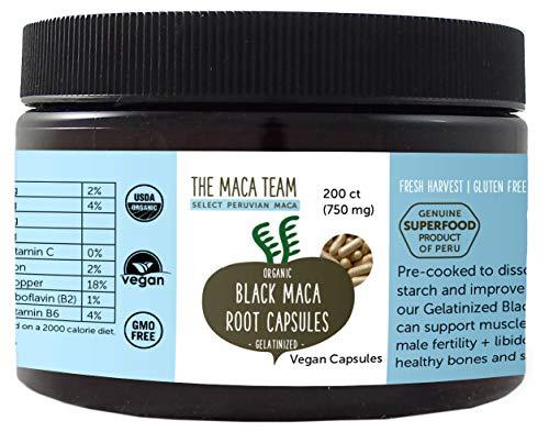 Schwarze Maca Wurzel Kapseln, gelatiniert – 750 mg, 200 Ct – bio- zertifiziert, frische Ernte aus Peru, Fair Trade, gentechnikfrei, glutenfrei, vegan