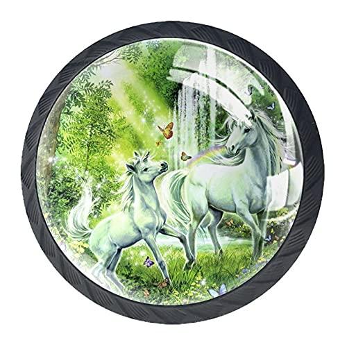 Redondo Negro pomos Unicornio Verde Fantasía para muebles de habitación infantil, para habitación infantil, armarios, cajones, baúles (4pcs) 35mm