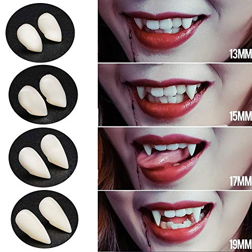 Sinwind 4 Paia Halloween Cosplay Denti da dentiere Denti da Vampiro Halloween Party Puntelli Cosplay Decorazione Costume Puntelli Favori
