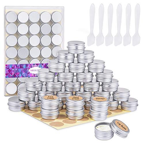 35 Barattoli In Alluminio da 5 Ml, Scatola Alluminio con Spatola ed Etichette Adesive per Campione, Balsamo per Le Labbra