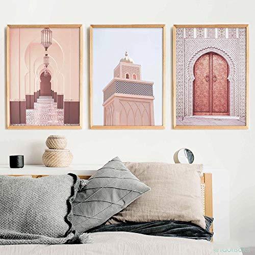 WTYBGDAN Arquitectura islámica Marruecos Puerta Cartel Vintage Galería Impresión de Lienzo Religión Moderna Arte musulmán Pintura Decoración de Pared Imágenes | 50x70cmx3Pcs / Sin Marco
