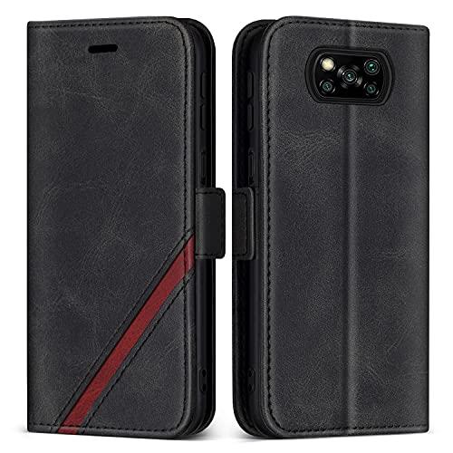 KKEIKO Hülle für Xiaomi Poco X3 NFC/Xiaomi Poco X3, PU Leder Magnet Schutzhülle mit Kartenfächer & Ständer, Stoßfest Brieftasche Klapphülle für Xiaomi Poco X3 NFC/Xiaomi Poco X3, Schwarz