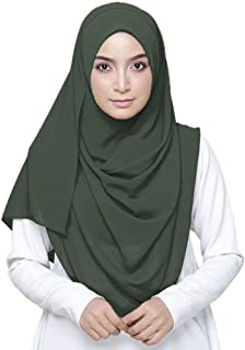 LMVERNA Solid Color Bubble Chiffon Scarf Women Muslim Hijab Long Scarf Wrap Scarves