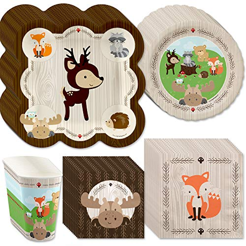 Big Dot of Happiness Woodland Creatures - Baby Shower or Birthday Party Tableware Plates, Cups, Napkins - Bundle for 48