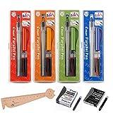 Juego de 4 cajas Pilot Parallel Pen: 1,5 mm + 2,4 mm + 3,8 mm + 6,0 mm + 12 cartuchos de tinta de...