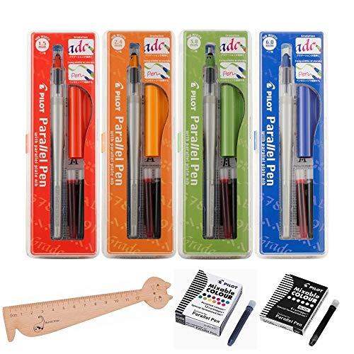 Lot 4 Coffrets Pilot Parallel Pen: 1,5 mm + 2,4 mm + 3,8 mm + 6,0 mm + 12 cartouches d'encre Couleurs assorties + 6 Cartouches noires + 1 Règle Marque-page en Bois Blumie