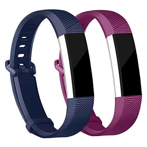 Adepoy Ersatzarmbänder kompatibel für Fitbit Alta/Alta HR, verstellbare Sport Smartwatch Fitness Armband für Frauen Männer Marine Fuchsie Klein