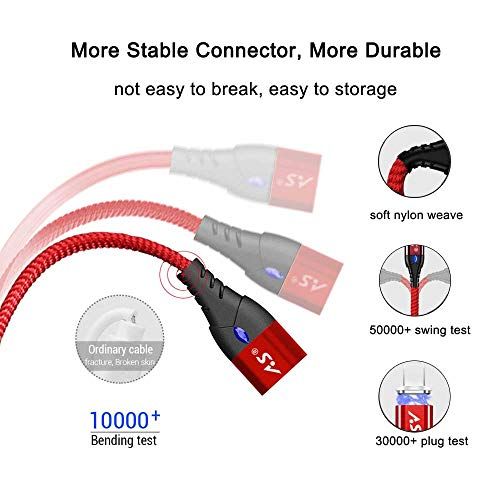 A.S 3 in 1 Magnetic USB Cable, Fast Charging & Data Sync Cable with Diamond Led, Compatible with Micro USB I-Product and Type C Smartphones (1.6ft,3.3ft,6.6ft Red)