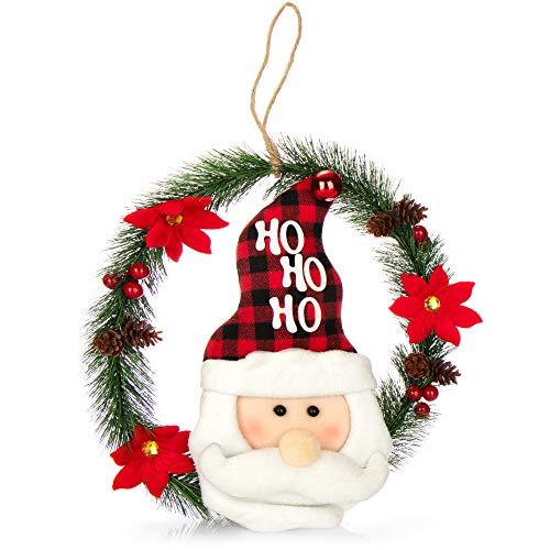 com-four® Weihnachtskranz mit Weihnachtsmann - Tür Kranz Weihnachten - Adventskranz - Weihnachtsdeko - Ø ca. 35 cm