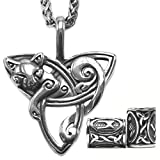 GUNGNEER Triquetra Cat Pendant Necklace with Steel Keel Chain, Celtic Trinity Knot Zodiac Charm Necklace for Women Men, Stainless Steel, 2X Runic Beard Beads Gift