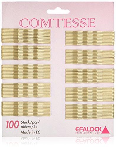 Efalock Professional Comtesse Haarklemmen gewellt, gold, 7 cm, 1er Pack, (1x 100 Stück)