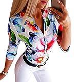Tomwell Mujer Camisas Cuello V Manga Larga Floral Blusa Casu
