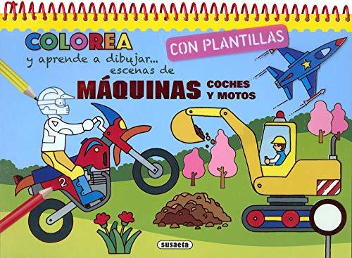 Máquinas, coches y motos (Colorea y aprende a dibujar con plantillas)