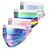 100pcs Adult Multicolor Disposable Face Masks 3ply Breathable Non-Woven with Elastic Earloops,Star Mix