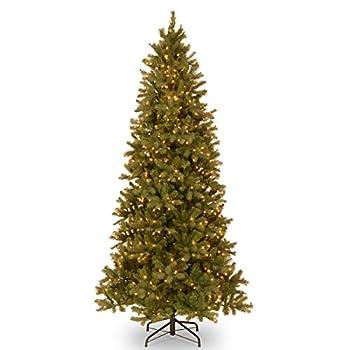 National Tree 9 Foot  Feel Real  Downswept Douglas Fir Slim Tree with 800 Clear Lights Hinged  PEDD1-323-90