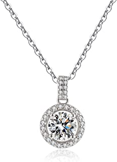 Moissanite Pendant Necklace 1CT 18K White Gold Plated silver D Color Ideal Cut Diamond Necklace for Women with Certificate...