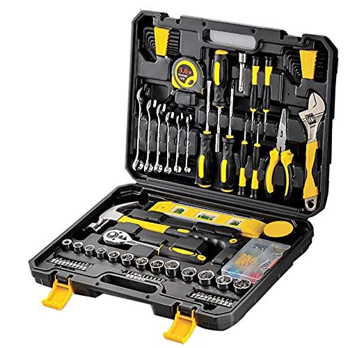 108 piezas de caja de herramientas portátil, herramientas manuales para la casa, reparación automática combinada, punta para destornillador, destornillador de precisión, martillo, cinta métrica, nivel
