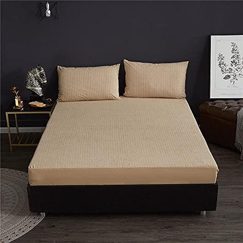 DSman Funda colchón Microfibra, elástica y Ajustable, Cubierta de sábana Impermeable a Rayas-Camel_150x200 + 45cm