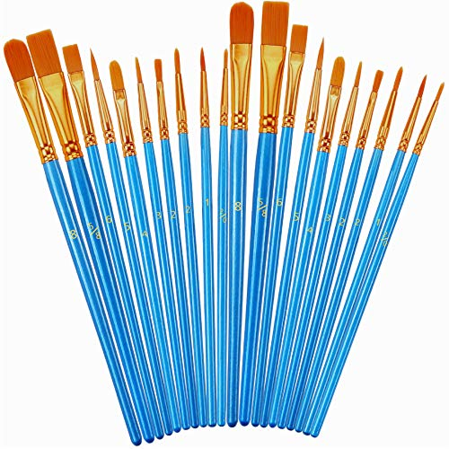 Paint Brush Set, 2Pack 20 Pcs Nylon Hair Brushes for Acrylic Round Pointed Tip Oil Watercolor Painting Artist Professional Paintbrushes, Halloween Pumpkin Rock Painting Kits, Arts Crafts Supplies