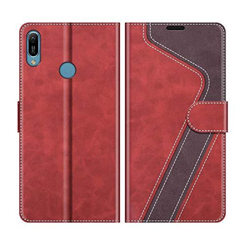 MOBESV Handyhülle für Huawei Y6 2019 Hülle Leder, Honor 8A Handyhülle, Huawei Y6 2019 Klapphülle Handytasche Hülle für Huawei Y6 2019 / Honor 8A Handy Hüllen, Modisch Rot