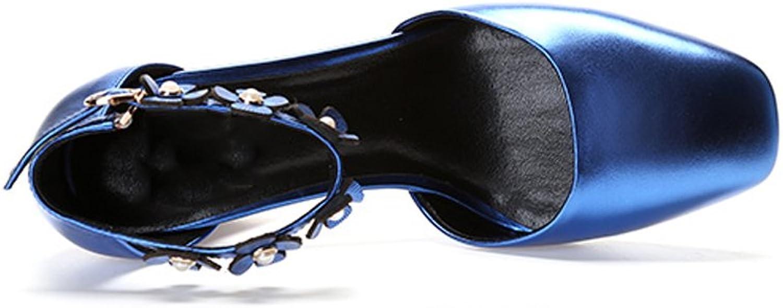 YUBIN Herbst Schnalle High Heels Weiblichen Kopf Schuhe Schuhe Schuhe Leder Dicke mit Flachem Mund Schuhe Weibliche Mode Blaumen Hohl Schuhe (Farbe   Blau, Größe   36)  cf1eaf