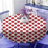 Función de mantel redondo geométrico de los años 50 y 60 Old Pop Art Retro Vintage lunares redondos círculos decoración arte impresión fácil cuidado diámetro 55 pulgadas escarlata y blanco