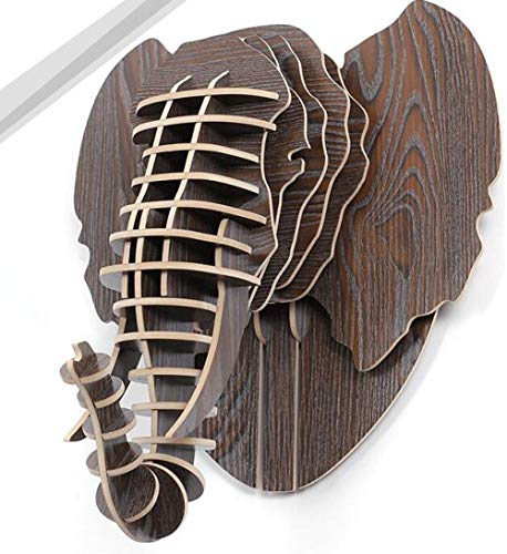 Jiajing Home Furniture Animal Head Wall-Mounted Elephant Head Wooden Crafts Artist Home Wall Decoration White red Statue Creative Wooden-1
