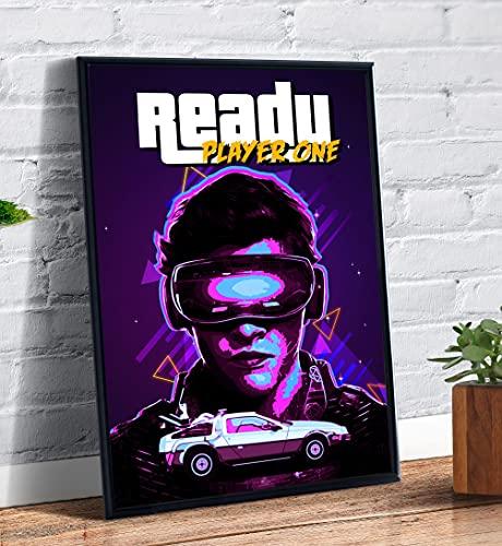 Quadro decorativo emoldurado A4 Jogador Numero 1 Retro Arte Filme