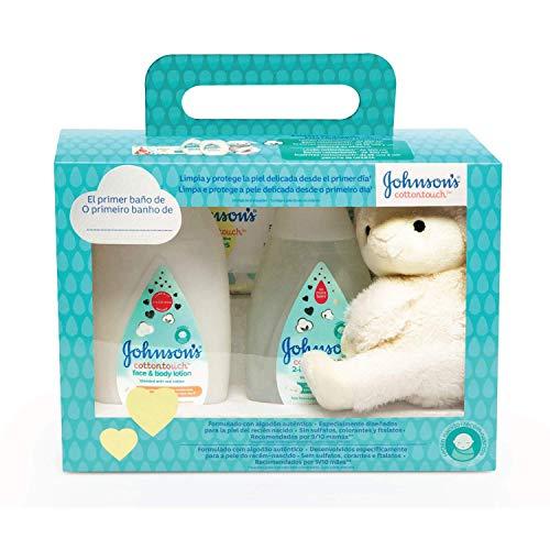 Johnson's Baby Set Cotton Touch Badgel 300 ml + Körperlotion 300 ml + Tücher 56 Stück + Plüsch Schafe
