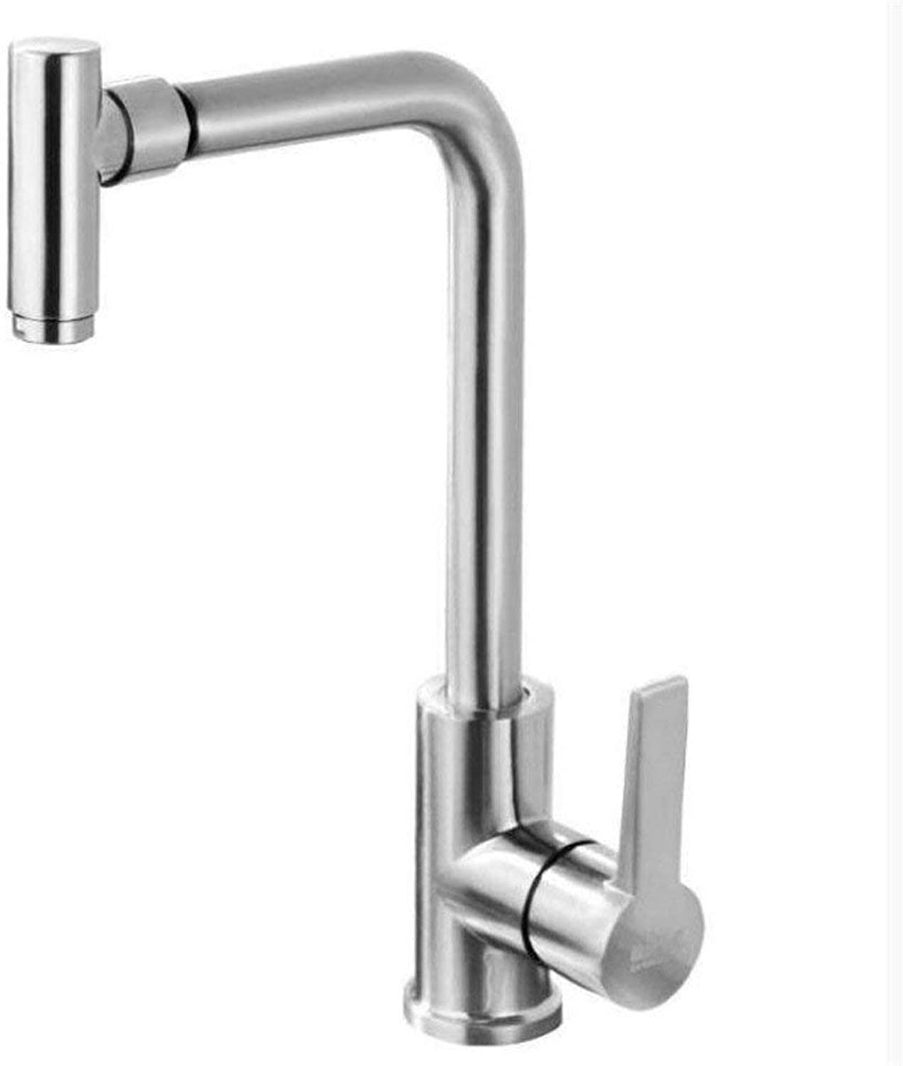 Oudan Vegetables Basin Kitchen Faucet Single Cold Sink Faucet Hot and Cold Copper Body 304 Stainless Steel Wire Drawing Full redation (color   -, Size   -)
