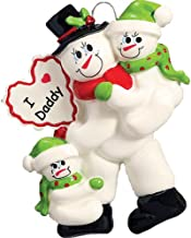 Personalized I Love Daddy Christmas Tree Ornament 2019 - Snowman Father Child Santa Hat Heart Best Greatest Day 2 Hug Single Parent Winter Family of 3 Daughter Son Year - Free Customization (Two)
