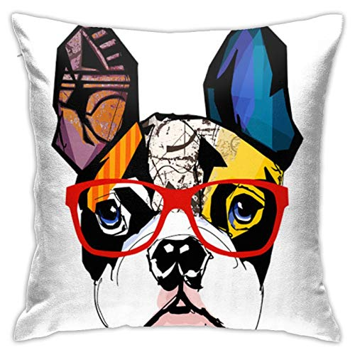 Alefdolf French Bulldog Portrait Decorative Pillow Case Home Decor Square 18X18 Inches Pillowcase