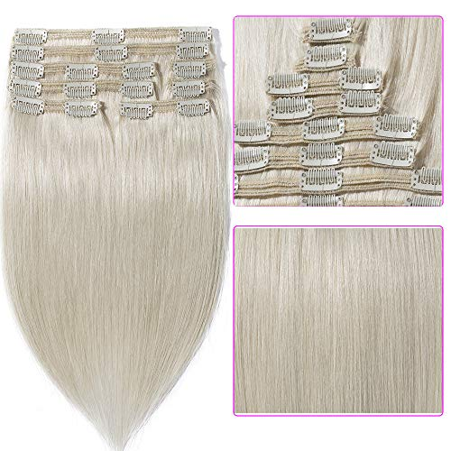 Extension Clip Capelli Veri Doppia Tessitura Double Wefts Lunga 30cm Pesa 115g #70 Bleach White 8 Fasce Full Head 100% Remy Human Hair Lisci