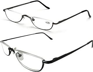 Inlefen 2 Pack Reading Glasses Ultralight Slim Half Moon Lens Readers Metal Semi Rimless