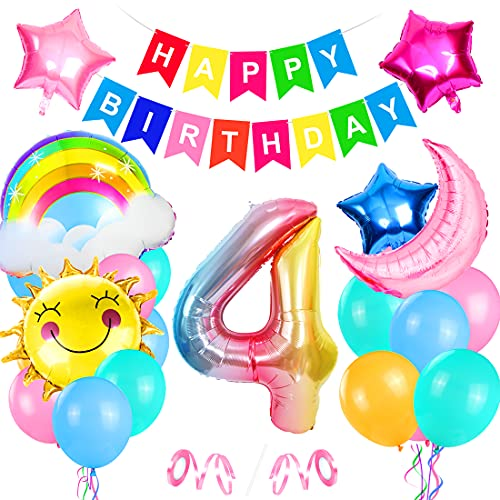Bluelves Palloncini Compleanno 4 Anno, Palloncini Compleanno 4 Anni, 4 Palloncini Rosa, Foil Palloncini Numeri 4, Decorazioni Compleanno 4 Anno, Compleanno 4 Anno Bambina, Addobbi Compleanno Bambina