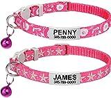 TagME Collar de Gato Personalizado, con Placa de Identificación Personalizable y Hebilla de Liberación Rápida, Collar de Gato Ajustable, Apto para Gatos y Cachorros, Dos Piezas, Rosa