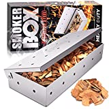 JUEMINGZI Smoker Box for BBQ Grill Wood Chips - 25% Thicker Stainless Steel Won't Warp - Barbecue Meat Smoker for Charcoal and Gas Grills | Smoker Grill Tool
