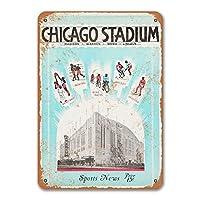 1931年シカゴスタジアムの看板、金属製の壁のポスターブリキの看板ヴィンテージディナールームホームキッチンバーベキューレストランの装飾8x12インチ