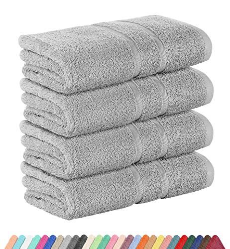 StickandShine 4er Set Premium Frottee Handtuch 50x100 cm in hellgrau in 500g/m² aus 100% Baumwolle Öko-TEX Standard 100 Materialien