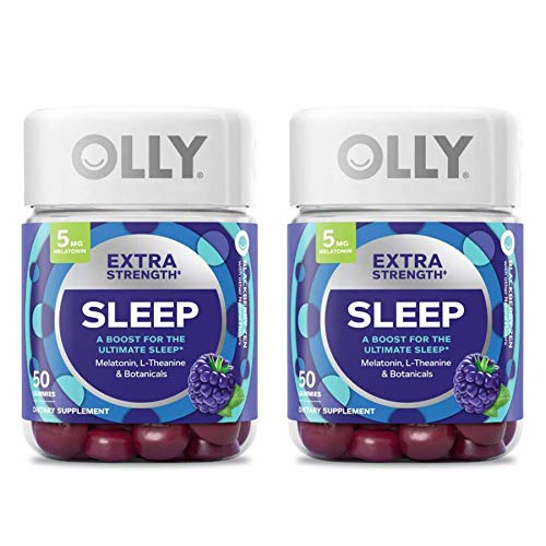 Olly Extra Strength Sleep Gummy! 50 Gummies BlackBerry Mint Flavors! Formulated with Melatonin, L-Theanine & Botanicals! A Boost for The Ultimate Sleep! Choose from 1 Pack, 2 Pack or 3 Pack! (2 Pack)