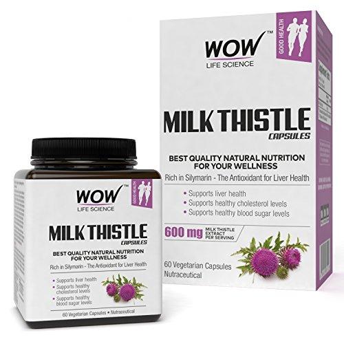 WOW Life Science Milk Thistle Capsules - 600mg - 60 Vegetarian Capsules