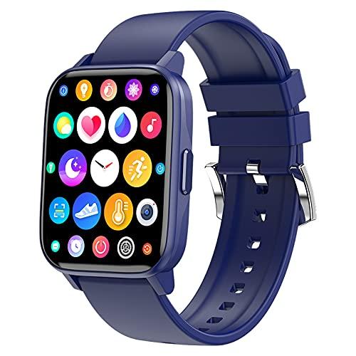 QFSLR Smartwatch, Reloj Inteligente Reloj Deportivo con Ciclo Menstrual Femenino Monitor De Frecuencia Cardíaca Monitor De Presión Arterial Fitness Tracker Podómetro para Android iOS,Azul