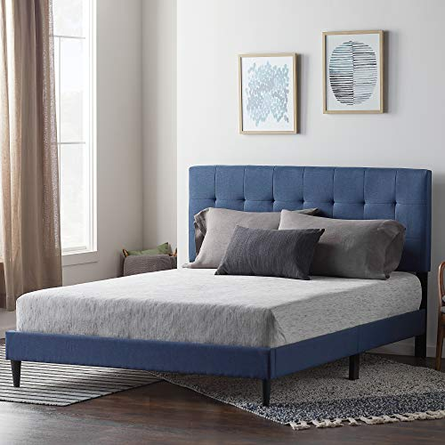 LUCID LUFFCO01UB Upholstered Bed withSquare TuftedHeadboard-Linen Inspired Fabric –Sturdy Wood Build –No Box Spring Required Platform, Full, Cobalt