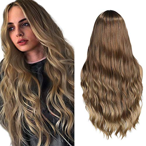WIGER Ombre Wig Long Wavy Hair 3 Tones Brown to Blonde Beach Wave Curly Middle Part Halloween Party Cosplay Daily Synthetic Wigs for Women