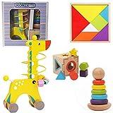 Kit 3 EN 1 Juguetes de Madera  Montessori Juguetes Cubo de Madera Torre arcoíris Apilador Color Jirafa de Madera con Laberinto de Cuentas Juguetes educativos para Bebes y niños Tangram Puzzle+3años