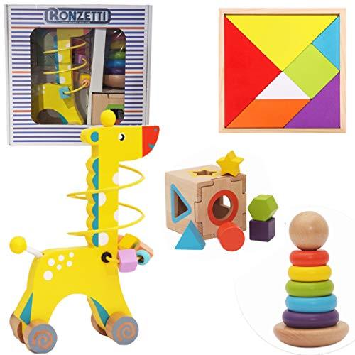 Kit 3 EN 1|Juguetes de Madera| Montessori Juguetes|Cubo de Madera|Torre arcoíris Apilador Color|Jirafa de Madera con Laberinto de Cuentas|Juguetes educativos para Bebes y niños|Tangram Puzzle+3años