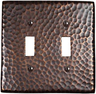 The Copper Factory CF123AN Solid Hammered Copper Double Switch Plate, Antique Copper Finish